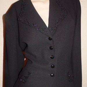 Kasper For A.S.L. Beaded  Skirt  Suit